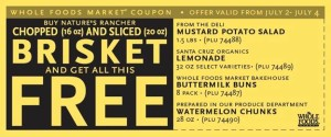 Whole Foods Fourth of July Brisket Bundle Deal includes FREE foods!