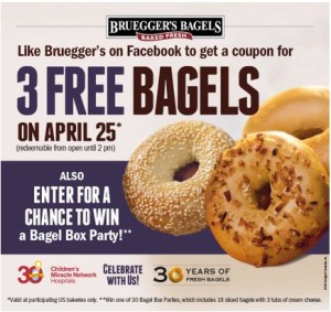 Bruegger's Bagels 3 Free Bagel Day and chance to win Bagel Box