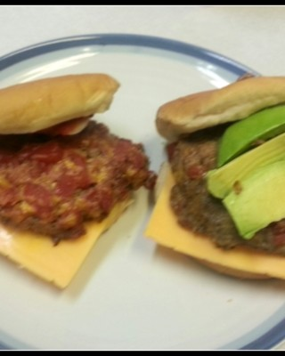 Recipe:  Spicy Cowboy Burger Red Gold Diced Tomatoes and Green Chilies