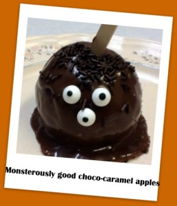 choco-caramel apples Halloween recipe