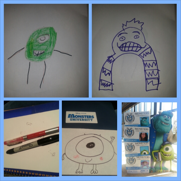 drawing Mike at Monsters University