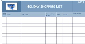 Free printable holiday shopping list