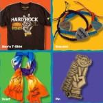 hard rock imagine t-shirt, bracelet, scarf and pin