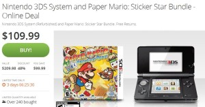 Nintendo 3DS System (Refurbished) and Paper Mario: Sticker Star Bundle $109.99