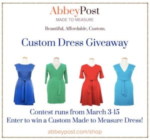 AbbeyPost Custom Made to Measure Dress Giveaway (ends March 15)