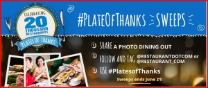 20 Winners in the Restaurant.com Plates of Thanks Sweeptakes!