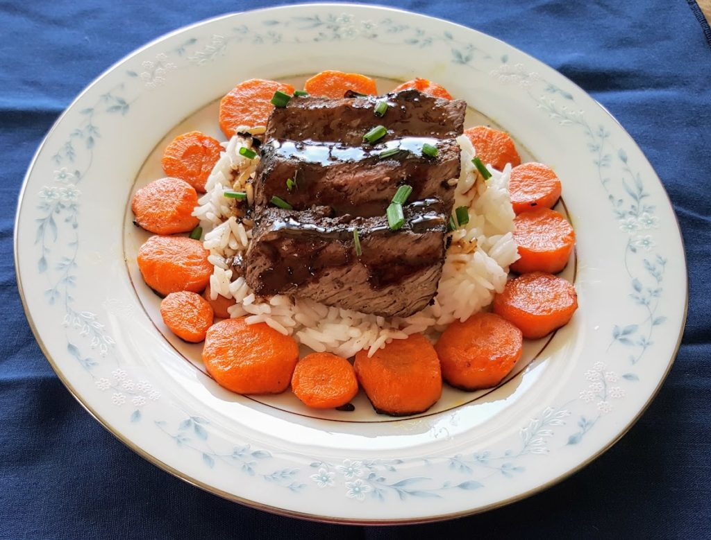 Japanese Sirloin Steak with Glazed Carrots Home
