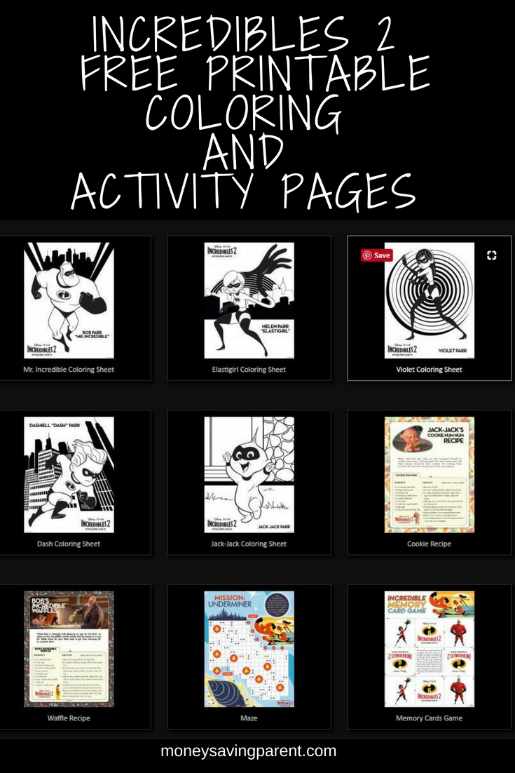 Free Printable Incredibles 2 Activity, Recipes and Coloring Pages ...